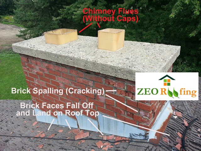 Roof Chimney Bricks Spalling and Cracking - Spring Grove, IL