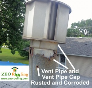Leak Causing Vent Pipe and Vent Cap in Round Lake Beach, Illinois
