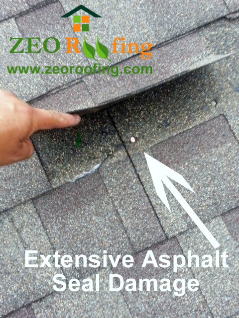 Extensive Damage To Sealant Of Asphalt Roofing Shingles