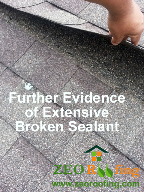 Further Extensive Damage To Sealant Of Asphalt Roofing Shingles