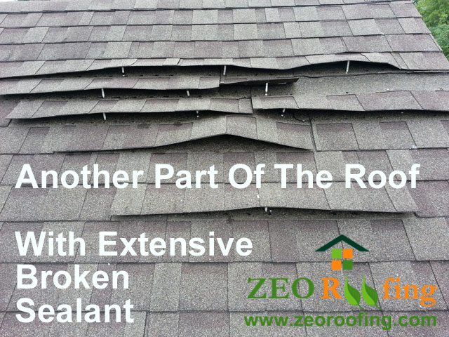 Extent of Sealant Damage To Another Part of Asphalt Shingle Roof