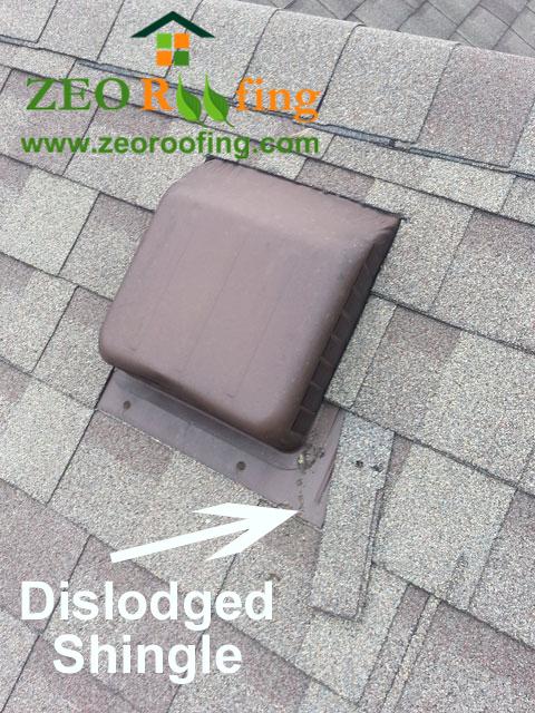 Dislodged Asphalt Roof Shingle - Lincolnshire IL