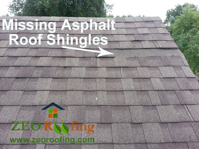 Missing Shingles on Wind Damaged Lincolnshire, IL Home