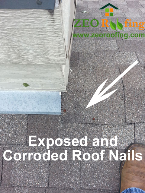 Exposed and Corroded Roof Nails