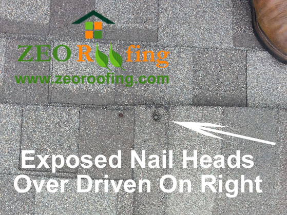 Exposed and Over Driven Roof Nails
